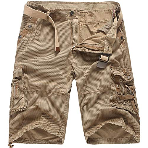 MIS1950s Men's Classic-Fit Cargo Short Men's Belted Messenger Cargo Short - Pocket and Big and Tall Sizes Men?s Canvas Utility Hiker ()