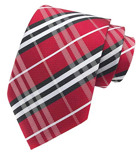 MENDENG Blue Red White Floral Ties Classic Jacquard Woven Men's Silk Necktie Tie ()