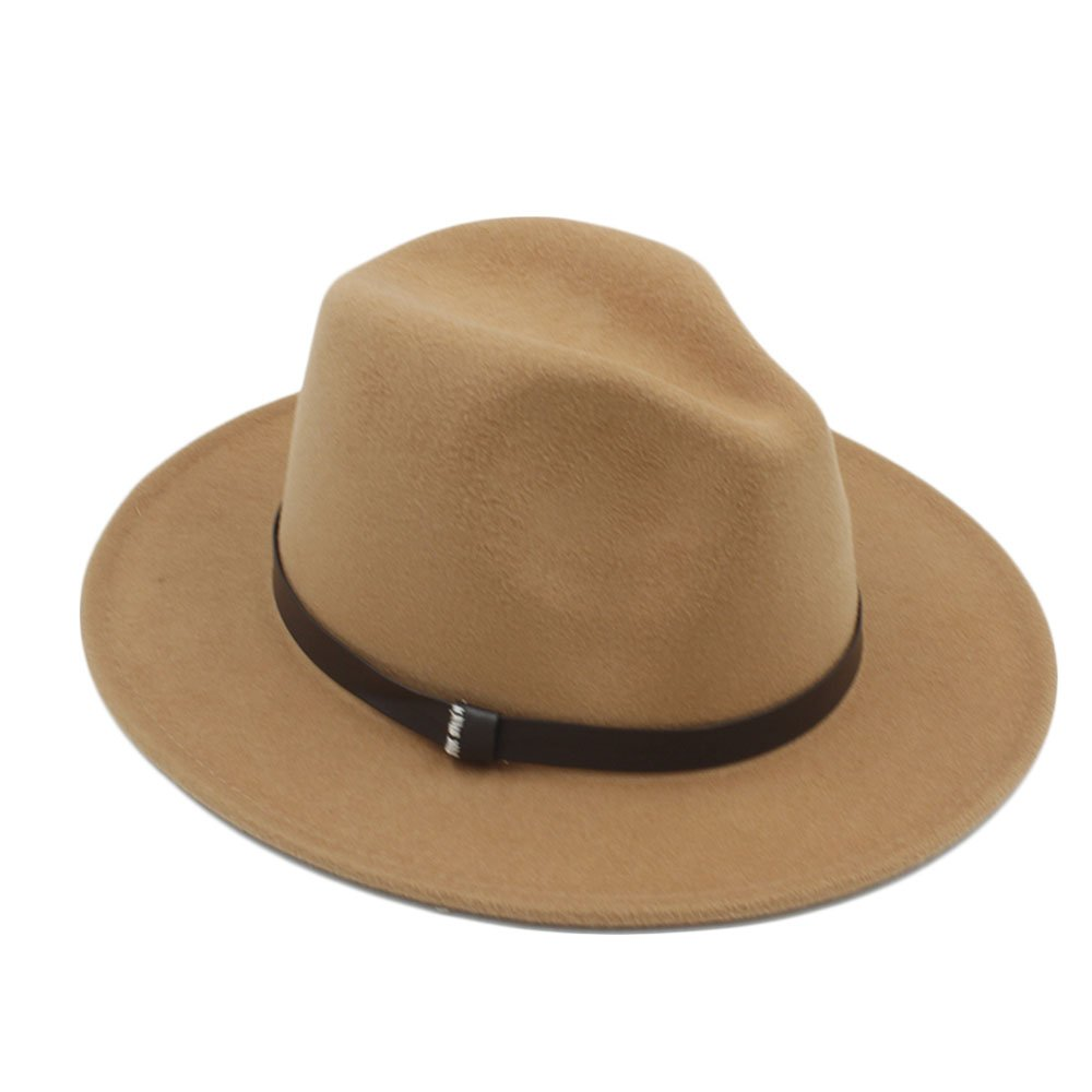 Battle Men Unisex Wide Brim Wool Fedora Panama Hat with Belt Men / Women Cap , Beige ( Color : 1 , Size : 57-58CM )