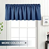 "valances window treatments  Waffle-Weave Window Treatment Valances Water Repellent Bathroom Curtain Panels (60"" x 18"", Navy Blue, One Panel)"