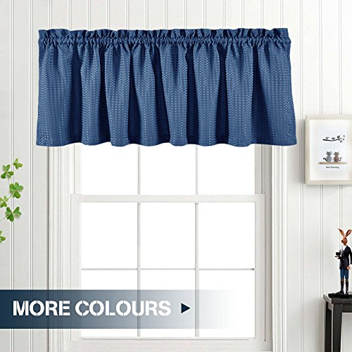 "Waffle-Weave Window Treatment Valances Water Repellent Bathroom Curtain Panels (60"" x 18"", Navy Blue, One Panel)"