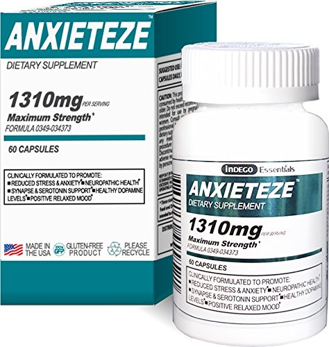 ANXIETEZE -Ease Stress Anxiety- 60ct Capsules – MAXIMUM STRENGTH FORMULA 1-60ct Box Promotes Calm Recuperative Sleep at Night w Controlled Focus and Positive Mood Enhancement During the Day