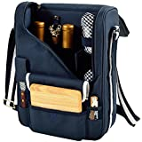 Picnic at Ascot Wine and Cheese Cooler Bag Equipped for 2 with Glasses, Napkins, Cutting Board, Corkscrew, etc.  - Navy