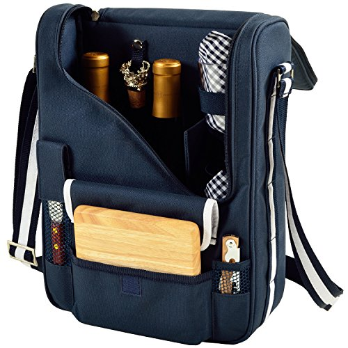 Picnic at Ascot Wine and Cheese Cooler Bag Equipped for 2 with Glasses, Napkins, Cutting Board, Corkscrew, etc.  - Navy Assembled 1 Wide Champagne