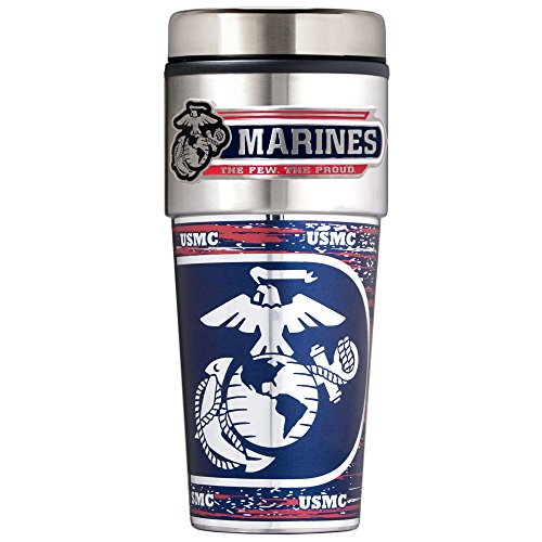 Marines Metallic Travel Tumbler, 16-Ounce, Silver