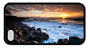 Hipster funny iPhone 4S case hawaii coast sunset TPU Black for Apple iPhone 4/4S