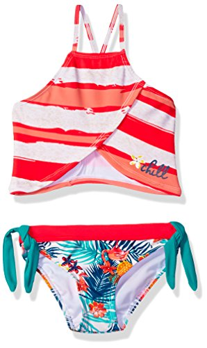 Big Chill Little Girls' Bold Stripe and Flamingo Palm Tankini, Coral, 4 (Flamingo Coral)