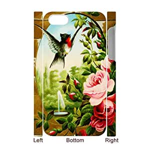 3D Print Fashion Design Bird and Roses Background Case Cover for iPhone 4/4S - Personalized Hard Cell Phone Back Protective Case Shell-Perfect as gift