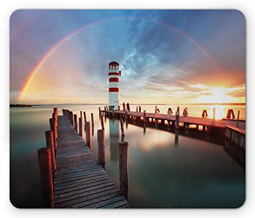 (Ambesonne Lighthouse Mouse Pad, Sunset at Seaside Wooden Docks Lighthouse Clouds Rainbow Waterfront Reflection, Standard Size Rectangle Non-Slip Rubber Mousepad, Multicolor)