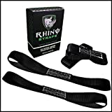 RHINO USA Soft Loop Motorcycle Tie Down Straps - Guaranteed 10,427lb Max Break Strength, Heavy Duty Tiedown Loops for Secure and Confident Trailering of Motorcycles, Dirtbikes, ATV, UTV (Black 4-Pack)