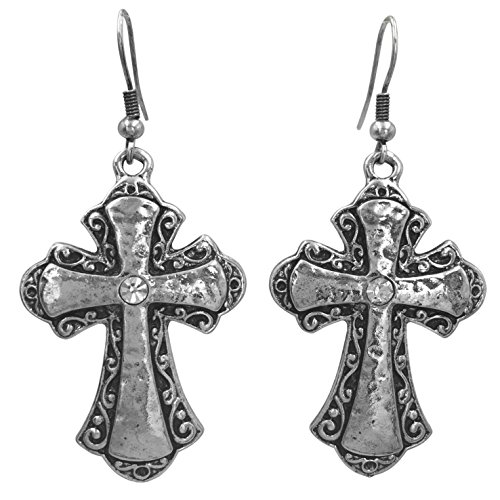 Inspired Silver Cross (Rhinestone Christian Cross Fancy Bling Silver Tone Dangle Earrings (Hammered center Swirl Frame))