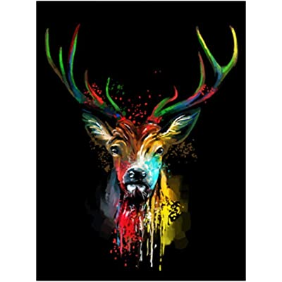 LOKIPA DIY Painting by Number Kits for Adult,DIY Painting Paint by Numbers Kits on Canvas, Colorful Deer 16x20 Inch : Toys & Games
