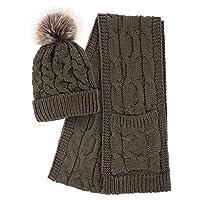 Halconia 2 Piece Winter Set Beanie Hat Scarf Set for Women,Light Coffee