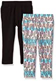 One Step Up Toddler Girls' 2 Pack French Terry Jegging, Buttercream Print/Black, 2T