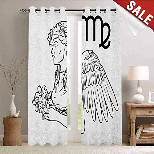 Zodiac Virgo Room Darkening Gromets Curtain Multi Pattern, Astrological Angel Carrying a Bouquet of Lily Flowers in a Greek Dress Pattern Darkening Curtains, Black and White, W96 x L72 Inches -