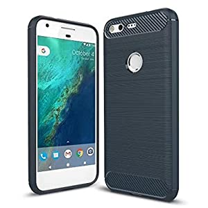 ARSUE Google Pixel Case,Flexible Soft TPU Rubber Slim Skin Silicone Protective Shell Case Scratch-Resistant Carbon Fiber Texture Phone Cover Case for Google Pixel 2016,Navy Blue
