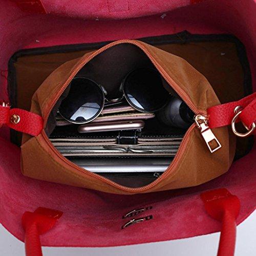 Handbag TUDUZ Fashion Red with Women's Bags Handbag Shoulder Leather 2Pcs Bag Buns Mother HrwxTqH
