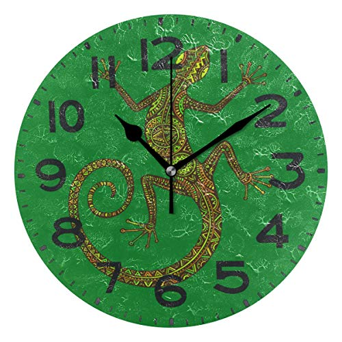 - Naanle Stylish Colorful Lizard Print Round Wall Clock Decorative, 9.5 Inch Battery Operated Quartz Analog Quiet Desk Clock for Home,Office,School(Green)