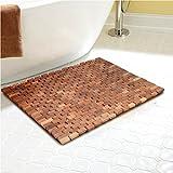 Facilehome Teak Bath Mat 27.5X19.7X0.31-Inch with Mutiple Silica Gel Feet Mold or Mildew Resistant