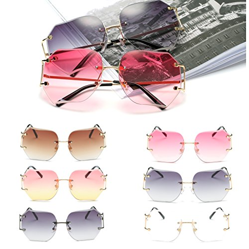 SCASTOE Retro Gradient Women's Rimless Sunglasses Metal Oversized Designer Clear Lens Rimless Glasses Transparent