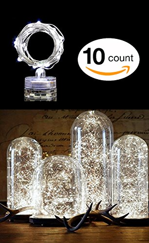 10 PCS Centerpiece Fairy String Lights 6.5FT 20 LEDs | Battery Powered (Incl) | Waterproof | Ultra Bright Flexible for Parties Holiday Wedding DIY (Cool (Fairy Vases)