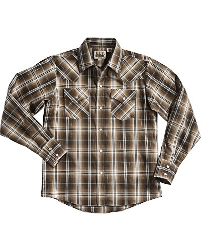 ELY CATTLEMAN Boys' Lurex Plaid Long Sleeve Snap Shirt Brown Medium (Plaid Shirt Lurex)