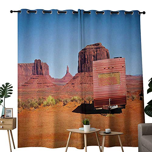 NUOMANAN Curtains Primitive Country,Abandoned Caravan Design Monument Valley Arizona Desert Country,Orange Pink Blue,Treatments Thermal Insulated Light Blocking Drapes Back for Bedroom 54
