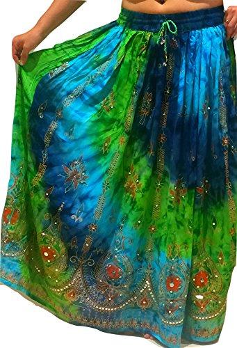 Colorido de las señoras de la India Boho Hippie gitano largo de lentejuelas de la falda del verano del rayón de danza del vientre étnico 2