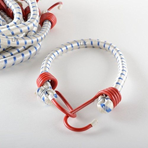 """Tiny Dog 24"""" Heavy Duty Red Hook Bungee Cord Tie Down Strap-12 Pc. Set from Tiny Family Helper"""