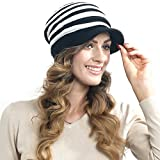 Womens Striped Knit Winter Beanie Visor Hat