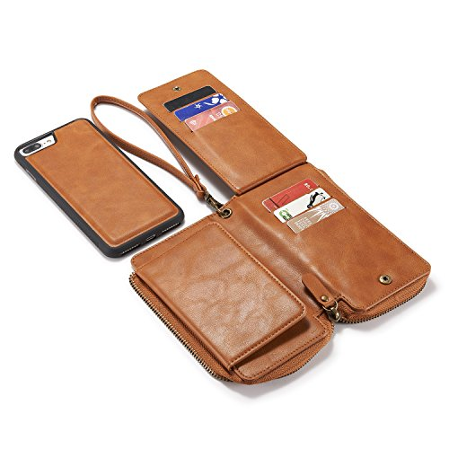 Urvoix Apple iPhone 7Plus (5.5inches) PU Leather Zipper Wallet Case/Detachable Removable Cover Case/ID Credit Card Cash Holder for Iphone7Plus