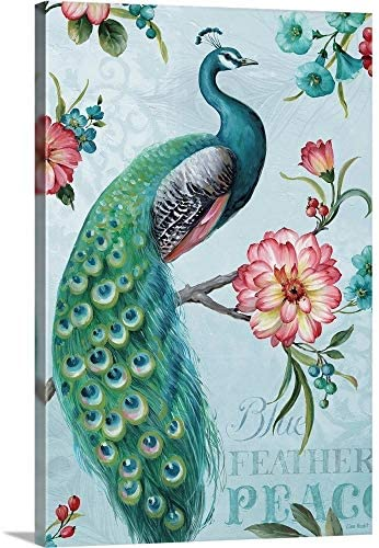 Blue Feathered Peacock I Canvas Wall Art Print