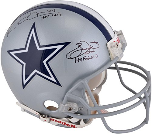 Emmitt Smith, Michael Irvin Dallas Cowboys Autographed Riddell Authentic Helmet With HOF Inscriptions - Fanatics Authentic Certified ()