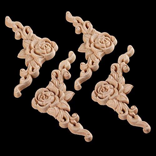 4pcs 8x8cm Wood Carved Corner Onlay Applique Door Cabinet Rose Unpainted European Style