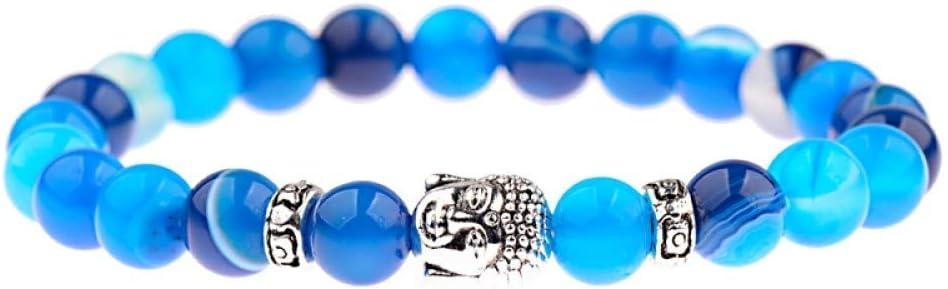 Pulsera De Piedra Brazaletes Muñequera,Hecho A Mano Natural Piedra Cuentas Vintage Oración Brillante Azul Piedra Cuentas Plata Color Buda Brazalete Étnico Para Mujeres Hombres Encanto Pulseras Yoga