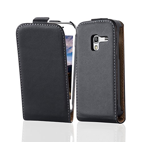 Cadorabo Case works with Samsung Galaxy ACE PLUS in CAVIAR BLACK (Design FLIP SMOOTH) – with 2 Card Slots – Case Etui Cover Pouch PU Leather Flip