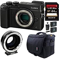 Panasonic LUMIX DMC-GX8KBODY Mirrorless 4K Cam, DI Stabilization Bundle (Black)
