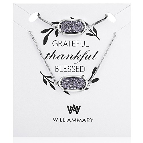 WISHMISS Grateful Thankful Blessed Jewelry Set- Natural Drusy Quartz Bracelet and Necklace Set with Inspirational Quotation Card Prefect Gift for Women by WISHMISS (Image #2)