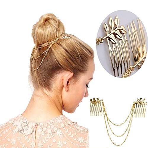YSTD® Womens Personality Golden Tone Leaf Hair Cuff Chain Comb Headband Hair Band