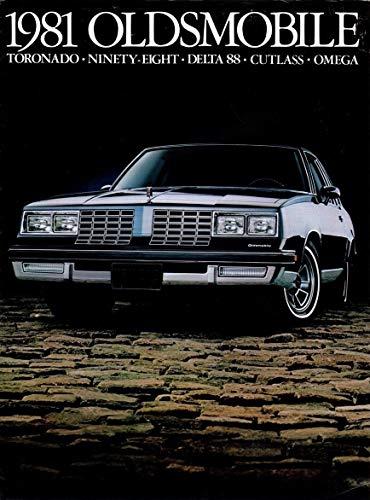 1981 OLDSMOBILE FULL-LINE VINTAGE COLOR SALES BROCHURE: TORONADO - NINETY-EIGHT - DELTA 88 - CUTLASS - OMEGA - USA - EXCELLENT ORIGINAL !!