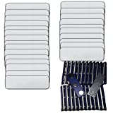 "Name Badges with Super Strong Magnetic Fastener UNATTACHED - 25 Pack Kit includes Silver Brushed Aluminum Look Blank Plastic Name Tags and Printable Clear Labels 1"" X 3"""