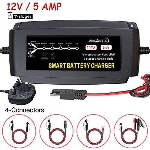 LEICESTERCN Car Battery Charger Maintainer 12V 5Amp 7Stage Automatic Smart...