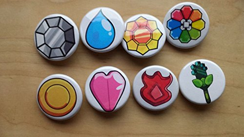"""Pokemon Collectible 1"""" inch Buttons - 1st Gen Badge Kanto Set - Custom Made - Pin Back - Gift Party Favor"""