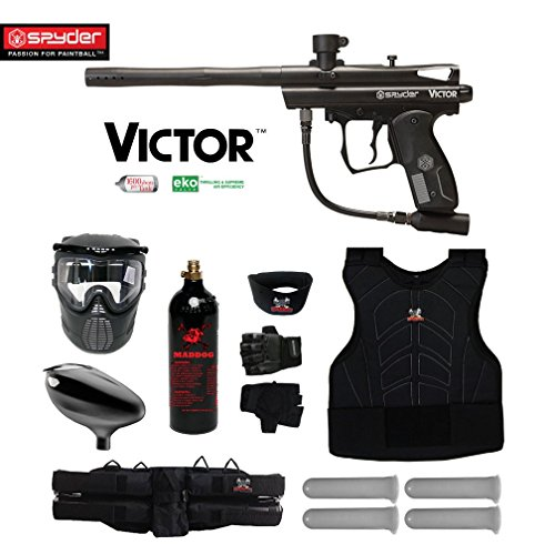 Kingman Spyder Victor Starter Protective CO2 Paintball Gun Package - Black