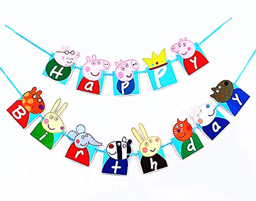 (Birthday Banner ❤Peppa Pig Birthday Decoration Flag Peppa Pig Flag for Birthday Decoration (with One Bonus Sheet of Sticker))