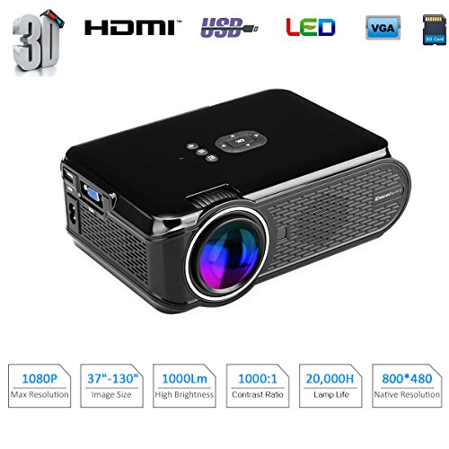 1080P LED Projector (Black/White) - 6