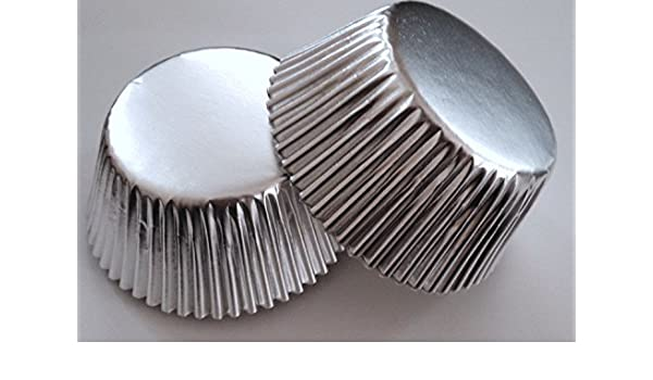 50 pcs Gold Silver Cupcake Liners Baking Cup Shiny Aluminum Foil Metallic liner