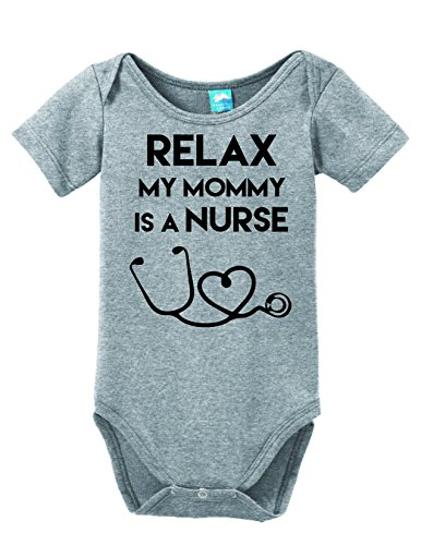 Relax My Mommy Is a Nurse Printed Infant Bodysuit Baby Romper Gray 3-6 Month