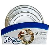 Plexware Silver Rim Plastic Plates 50 Piece Set (20-7.5 Inch, 15 - 9 Inch, 15 - 10.27 Inch) White-Silver Rim