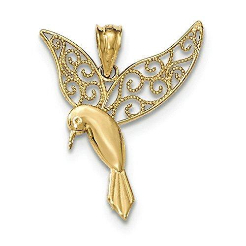 14k Gold Polished Hummingbird - Polished Pendant Hummingbird